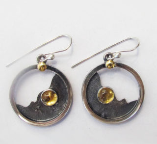 Sterling Silver and Gold Citrine Earrings