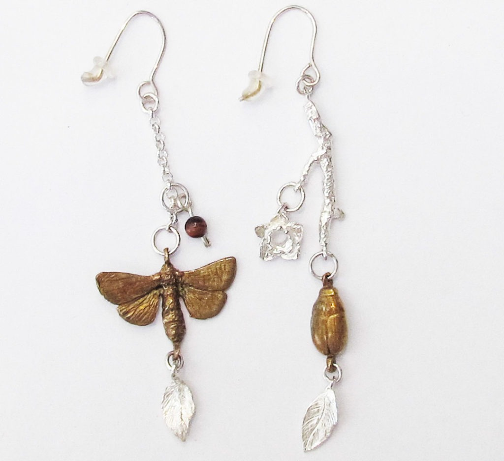 Sterling Silver and Bronze Moth Earring Jewellery