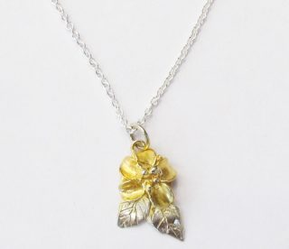 Sterling Silver Gold Plated Flower Blossom Pendant